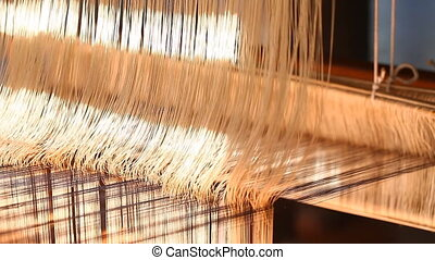Manual wood loom in Asia close-up FULL HD