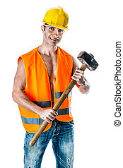 Manual work - a very muscular and handsome manual worker ...
