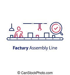 Assembly line, manual worker at conveyor, production factory, checking and packaging, quality control system, assortment technology, working conditions and safety, vector icon, linear illustration