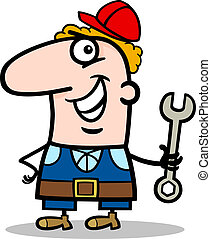 Cartoon Illustration of Funny Manual Worker with Wrench Profession Occupation