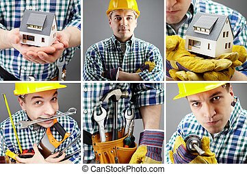 Manual worker - Collage of images with a manual worker