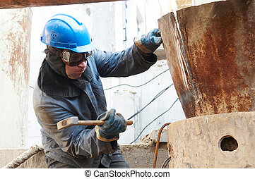 manual worker in action with hammer - manual worker in ...