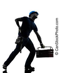 manual worker man backache pain silhouette