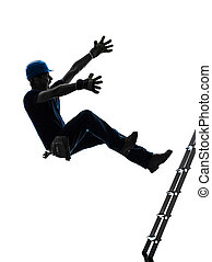 manual worker man falling from ladder silhouette - one...