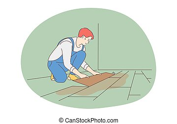Manual worker, professions for man, job concept. Young smiling man professional worker cartoon character in uniform making new flooring for customers apartment indoors. Job, specialist, working sphere