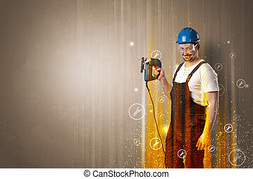 Manual worker with wrench symbol.