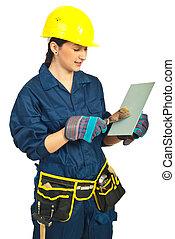 Manual worker woman working