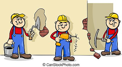 manual workers or builders characters group - Cartoon...
