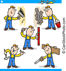 manual workers or workmen characters set - Cartoon...
