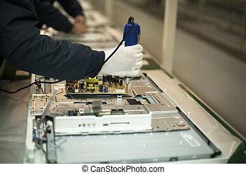 manuale, linea, produzione, lavoratore