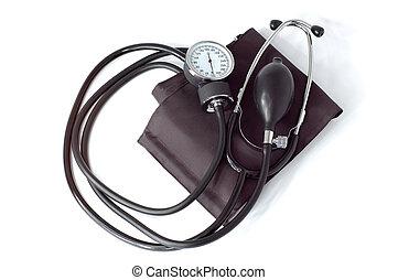 manuale, monitor pressione sangue, attrezzo medico, isolato