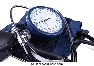 manuale, pressione sanguigna, attrezzo medico, isolato