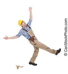 manuale, sopra, lavoratore, fondo, bianco, cadere