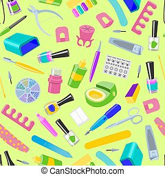 manucurer, nail-file, pédicure, modèle, manucuré, mains, nail-bar, seamless, illustration, accessoire, manucure, vecteur, manucure, fond, polonais, ciseaux, ongles, outils, ou