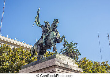 Statue of Manuel Belgrano, Argentine economist, lawyer, politician, and military leader and creator of the Flag of Argentina.