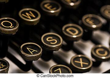 manuel, fin, clavier, machine écrire, vendange, u
