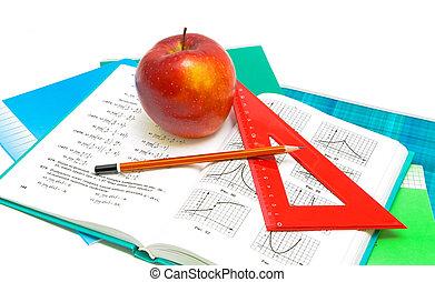manuel, fond, pomme, règle, blanc