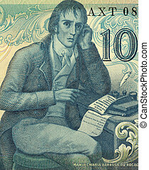Manuel Maria Barbosa du Bocage (1765-1805) on 100 Escudos 1981 banknote from Portugal. Portuguese Neoclassic poet, writing under the pen name Elmano Sadino.
