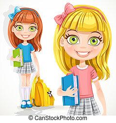 manuel, mignon, sac à dos, étudiant fille