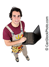 manuel, ordinateur portable, ouvrier