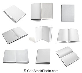 manuel, prospectus, papier cahier, gabarit, vide, blanc