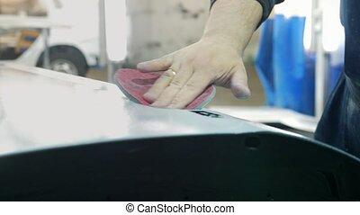 manuel, voiture, -, ouvrier, atelier, préparer, polissage, ...