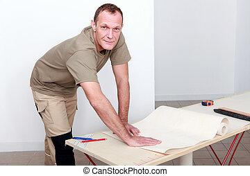 manuel, wallpapering, ouvrier