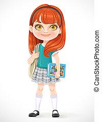 manuels, blanc, mignon, fond, sac à dos, brunette, écolière, isolé, dessin animé