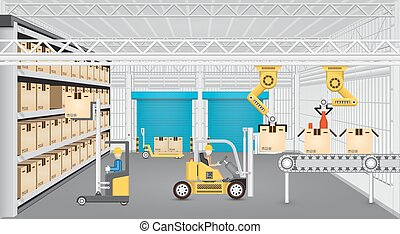 Robot working with conveyor belt and forklift inside factory.