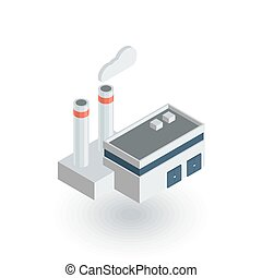 manufacture, industrial factory building isometric flat icon. 3d vector