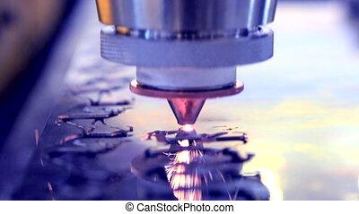 manufacture., laser, faisceau métal, coupures, feuille