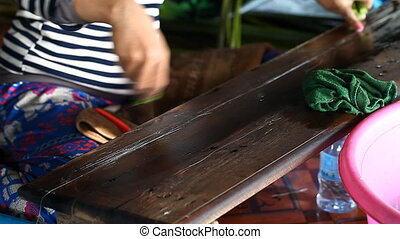 Manufacture of silk from the stems of lotus .Authentic...