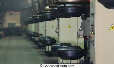 Tyre production machine conveyor. - Manufacture of tires....