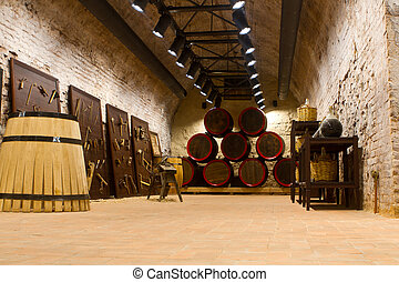 manufacture of wooden barrels in the factory,wine barrels...