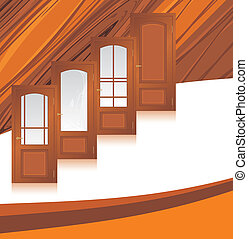 Manufacture of wooden doors. Abstract background. Vector illustration