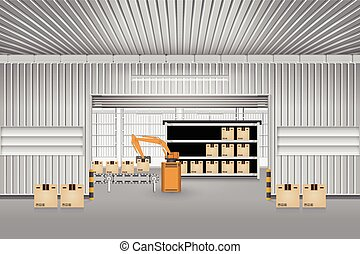 Robot working with conveyor belt inside factory.