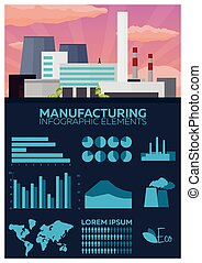Manufacturing and industrial Infographics elements. Vector flat illustration.