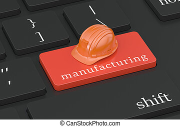 Manufacturing concept on keyboard button