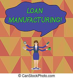 manufacturing., concepto, palabra, prestatario, empresa / ...