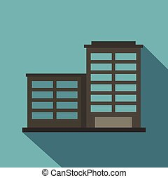 Manufacturing factory building icon, flat style