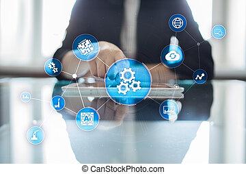 manufacturing., negócio, workflow, processo, modernos, solução, automação, automatization, tecnologia, software