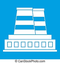 Manufacturing plant icon white isolated on blue background...