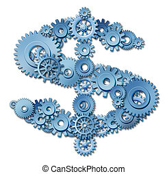 Making money and building wealth through connections and networking symbol represented by a shape of a dollar sign made of gears and coggs showing the concept of success and profits from manufacturing at factories and providing services.