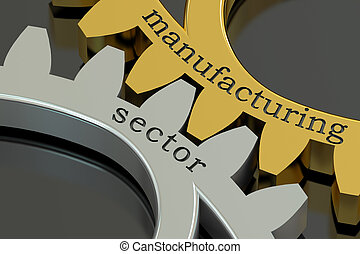 Manufacturing Sector concept on the gearwheels, 3D rendering