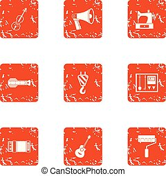 Manufacturing smelter icons set, grunge style -...