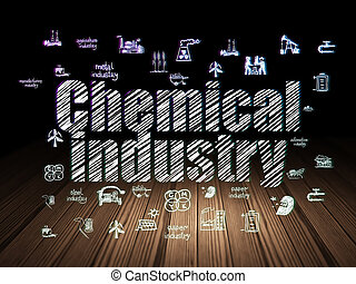 Manufacuring concept: Chemical Industry in grunge dark room