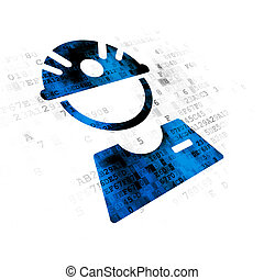 Manufacuring concept: Factory Worker on Digital background