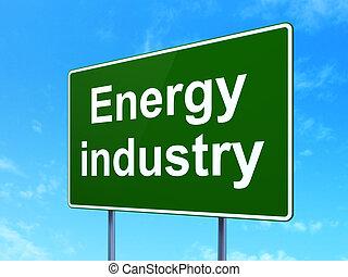 manufacuring, concept:, indústria energia, ligado, sinal estrada, fundo
