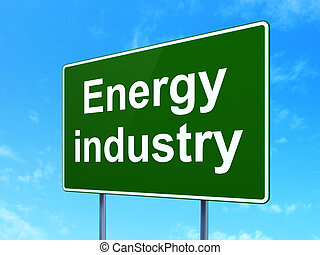 manufacuring, concept:, industria de la energía, en, muestra del camino, plano de fondo
