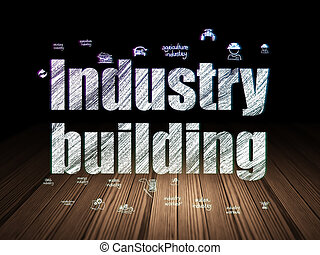 Manufacuring concept: Industry Building in grunge dark room